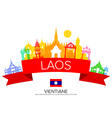 laos Travel Landmarks and flag vector image