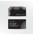 Black business card decorated white lacework vector image