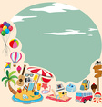 Border design with beach objects vector image
