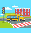 bus stops before pedestrian near school building vector image