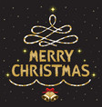 gold merry christmas text decorating on black vector image