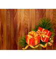 Holiday retro background with christmas tree vector image