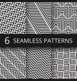 striped geometric seamless patterns set vector image