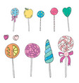 sweet hand drawn lollipops set vector image