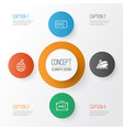 travel icons set collection of travel direction vector image