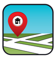 Street map icon with the pointer home vector image