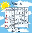 Calendar for March 2015 Cartoon Style Sun on Blue vector image