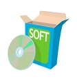 Box with a soft disc icon cartoon style vector image