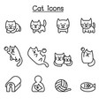 cat icon set in thin line style vector image