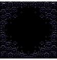Dark blue floral frame on black background vector image