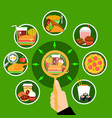 fast food meal circle composition poster vector image