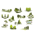 Forest public park and garden landscapes icons vector image