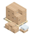 Group of stacked cardboard boxes on wooden pallets vector image