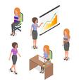 Isometric set of young businesswomen vector image