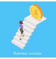 Isometric concept of business woman climbing the vector image