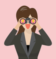 Business woman use binoculars looking for business vector image vector image