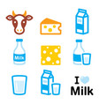 dairy products icons - milk cheese design vector image vector image