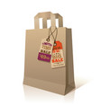 Paper shopping bag with promotion tags vector image vector image