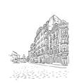 Antique European street sketch vector image vector image