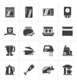 Black kitchen appliances and equipment icons vector image vector image