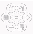 Arrows icons Upstairs repeat linear signs vector image