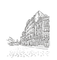 Antique European street sketch vector image