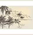 beach drawing palm trees and mountains vector image