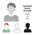 curly boy icon cartoon single avatarpeaople icon vector image