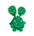 Cute cactus with a troubled face cartoon emotions vector image