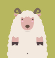 cute fat big brown horn sheep vector image