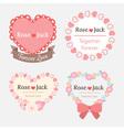 cute pastel romantic wedding heart shape label vector image