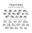 Set icons of tractors vector image