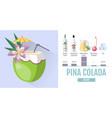 flat style cocktail pina colada menu design vector image