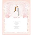 elegant wedding invitation with wedding couple vector image