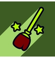 Flat with shadow Icon Broom and stars on colored vector image