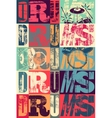 Typographical drums vintage style poster vector image