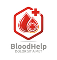 blood help hexagon donors healthy symbol vector image