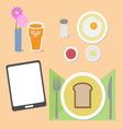 Food and brain breakfast set vector image