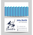 Surf business card template vector image