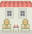 Vintage Chairs Set With Coffee Under Awning And vector image
