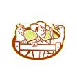 Farmer With Chicken Goose Cartoon vector image vector image