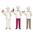 Three chefs keep food cake wine and chicken vector image