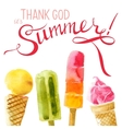Watercolor ice cream with type design vector image vector image