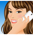 Young woman talking on mobile phone vector
