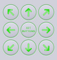arrows key set green icons on gray buttons vector image