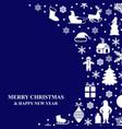 Christmas congratulatory card on blue background vector image