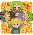 happy kids lying on colorful autumn leaves in park vector image