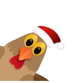 Rooster in Santa hat isolated on white background vector image