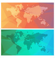 world maps on colorful triange background vector image