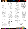 numbers with cartoon animals for coloring vector image vector image